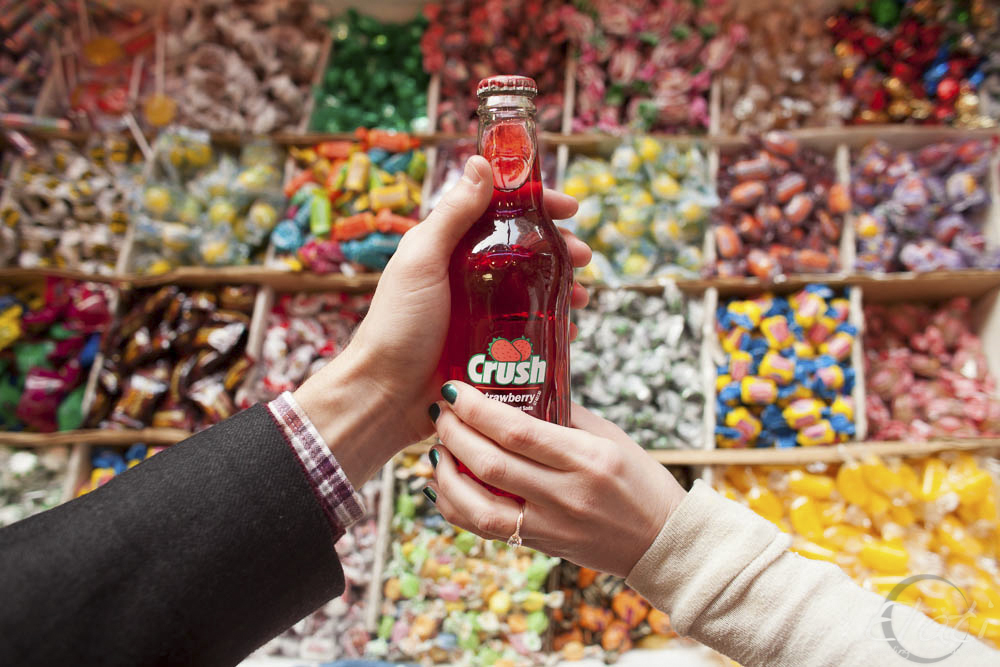 Fun Candy Shop Engagement Pictures