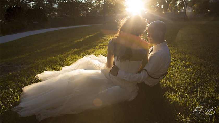 Bride and groom kissing in sunlight