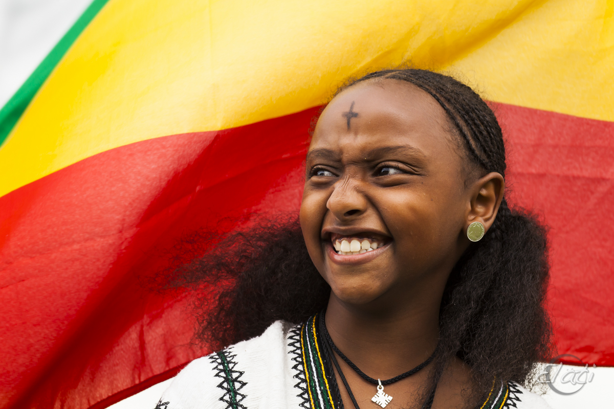 Smiling Ethiopian Girl with flag