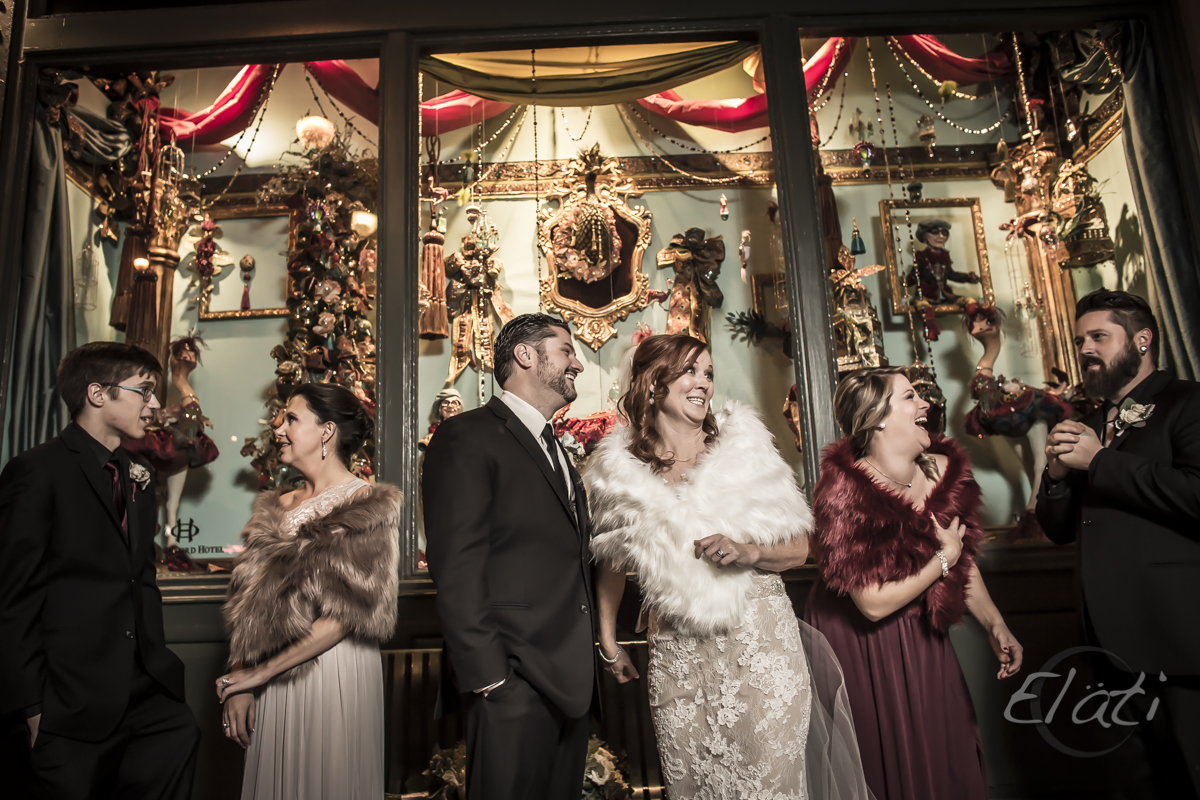 fun photo of wedding party at Oxford hotel